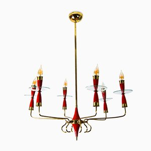 Murano Glass 6-Light Chandelier Attr. to Pietro Chiesa for Fontana Arte, 1940s