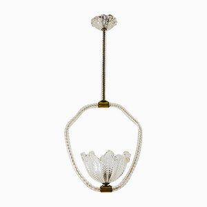 Murano Glas Deckenlampe von Ercole Barovier für Barovier & Toso, 1930er