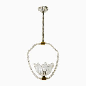 Murano Glass Ceiling Lamp by Ercole Barovier for Barovier & Toso, 1930s