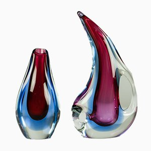 Vintage Sommerso Murano Glass Vases by Flavio Poli for Seguso, 1950s or 1960s, Set of 2