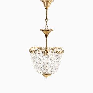 Lámpara de araña vintage pequeña de latón y vidrio de DeKnudt