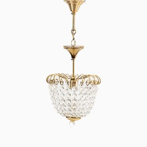 Small Vintage Chandelier in Brass and Glass from DeKnudt