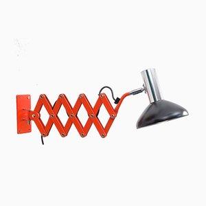 Lámpara tijera de metal, años 60