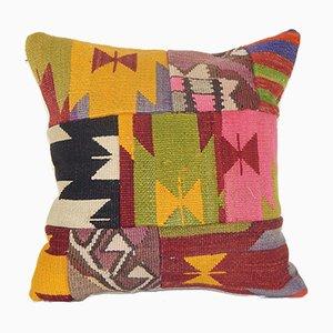 Oversize Kurdish Patchwork Rug Embroidery Cushion Cover