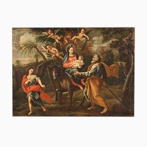 Antique Italian Painting, Flight Into Egypt, 18th Century