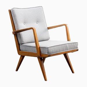 New Repadded Antimott Armlehnstuhl aus Nussholz von Knoll, 1950er