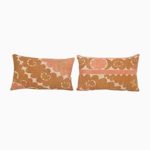 Handmade Uzbek Samarkand Pink Suzani Textile Art Lumbar Pillow, 1960s, Set of 2