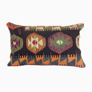 Turkish Oblong Organic Tribal Konya Kilim Pillow Cover