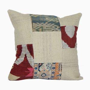 Funda de cojín Kilim turca vintage con estampado de patchwork en colores naturales