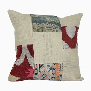 Vintage Turkish Handmade Patchwork Pattern Kilim Pillow Cover in Natural Colors