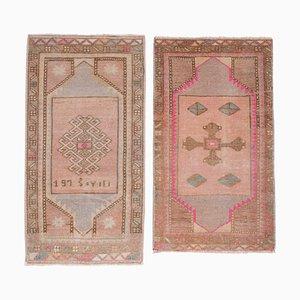 Türkische handgeknüpfte Fußmatte mit niedrigem Flor, 2er Set