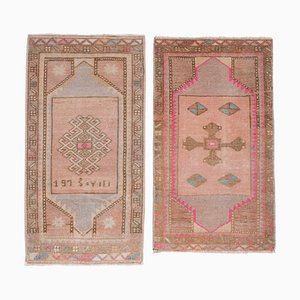 Turkish Hand Knotted Low Pile Rug Doormat, Set of 2