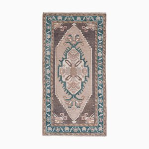Turkish Hand Knotted Low Pile Faded Yastik Rug Mat