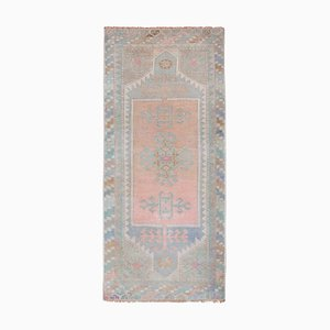 Türkischer Vintage Yastik Oushak Teppich mit niedrigem Flor