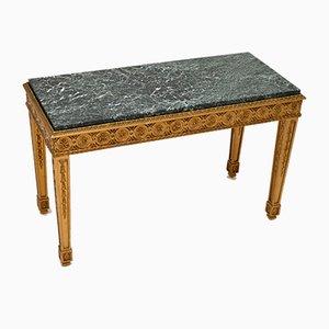 Mesa de centro francesa antigua de madera dorada con tablero de mármol