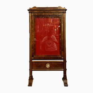 Empire Showcase Cabinet in Mahogany with Light Wood Filets, 1850-1880