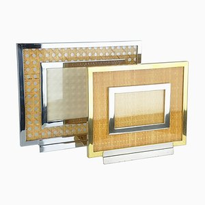 Chrome-Plated, Gilt Metal, Glass and Vienna Straw Picture Frames, 1970s, Set of 2