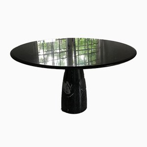 Vintage Italian Dining Table in Black & White Marble by Angelo Mangiarotti