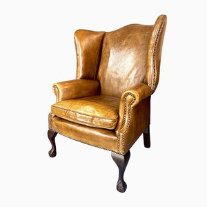 Georgian Tan Leather Wing Back Armchair with Brass Details