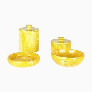 Cuencos y cajas de mármol amarillo, años 70. Juego de 4
