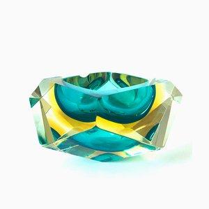Cenicero o Vide Poche grande de cristal de Murano en forma de diamante de Flavio Poli para Seguso, años 60