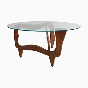 Mid-Century Polymorphic Teak and Glass Coffee Table in the Style of Noguchi, 1950s