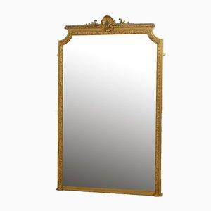 Espejo grande de madera dorada, siglo XIX