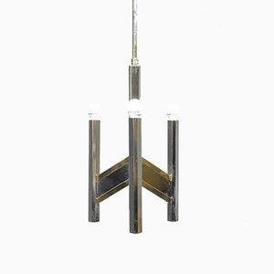 Lámpara de araña Chevron vintage con tres luces de latón de Gaetano Sciolari, años 70
