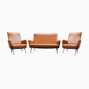 Vintage Sofa in Skai, 1960s, Set of 3
