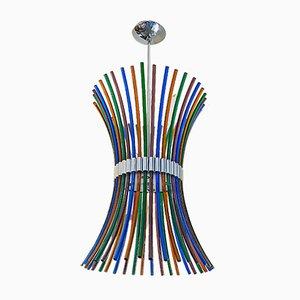 Lámpara de araña italiana Mid-Century moderna de cristal de Murano multicolor con varillas curvadas, años 70