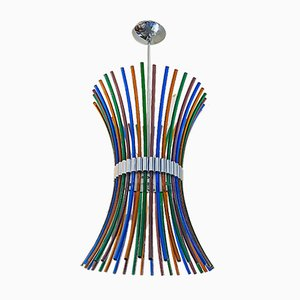 Mid-Century Italian Modern Multicolored Murano Chandelier with Curved Rods,1970s