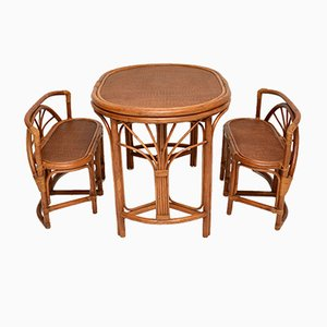 Vintage Bamboo & Rattan Games Table & Chairs, 1970s, Set of 3
