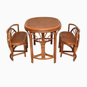 Vintage Spieltisch & Stühle aus Bambus & Rattan, 1970er, 3er Set