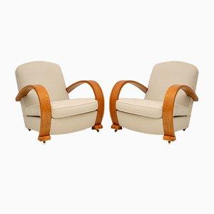 Art Deco Armlehnstühle aus massivem Ulmenholz, 2er Set