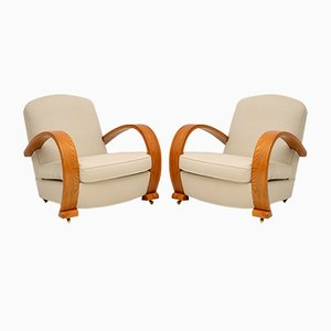 Art Deco Solid Elm Armchairs, Set of 2