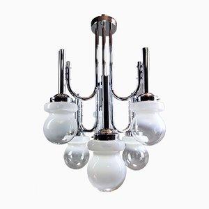 Großer Space Age Kronleuchter aus Metall & Murano Glas mit 6 Leuchten, 1960er