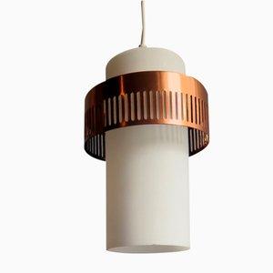 Vintage Deckenlampe aus Opalglas & verkupfertem Metall, 1950er