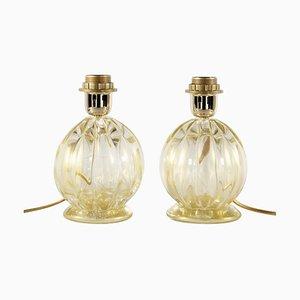 Lampade da tavolo in vetro di Murano a coste color oro di Seguso, set di 2