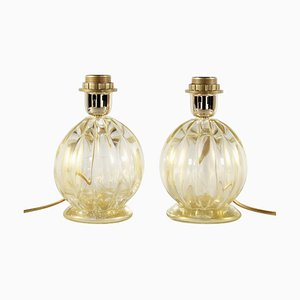 Ribbed Murano Glass Table Lamps in Pure Gold from Seguso, Set of 2