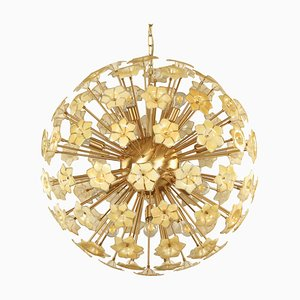 Large Vintage Italian Sputnik Chandelier with Flowers in Iridescent Honey-Colored Murano Glass & Brass Frame