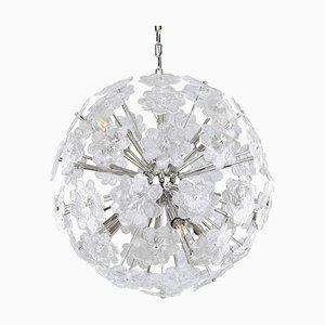 Großer italienischer Vintage Sputnik Kronleuchter mit Blumen aus Murano Kristallglas & Chromrahmen
