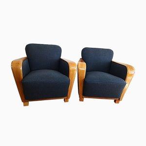 Vintage Art Deco Lounge Chairs in Dark Grey, Set of 2