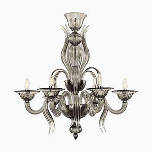 Lampadario Art Nouveau in vetro di Murano soffiato grigio di Barovier & Toso, anni '20