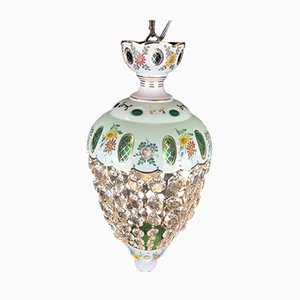 Entrance Chandelier or Pendant in Decorated Glass with Crystals