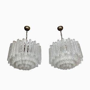 Lámparas de araña grandes de cristal de Murano transparente de Toni Zuccheri para Venini, Italia, años 60. Juego de 2