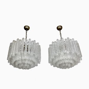 Large Murano Clear Glass Chandeliers by Toni Zuccheri for Venini, Italy, 1960s, Set of 2