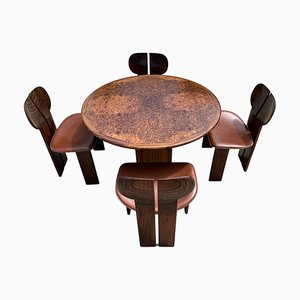 Mesa de comedor y sillas Africa de raíz de nogal y cuero de Tobia & Afra Scarpa para Maxalto, 1976. Juego de 5
