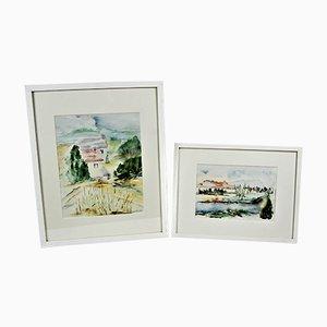 Watercolor Paintings by Schmid, Set of 2