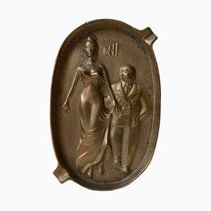 ¡Oh! Vintage Cenicero de bronce de dos caras Naughty Risque, años 60