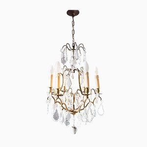 Lámpara de araña francesa antigua de latón y cristal
